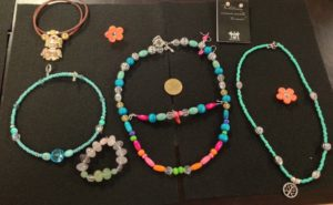 Jewelry made at a Maleku Jewelry summer camp