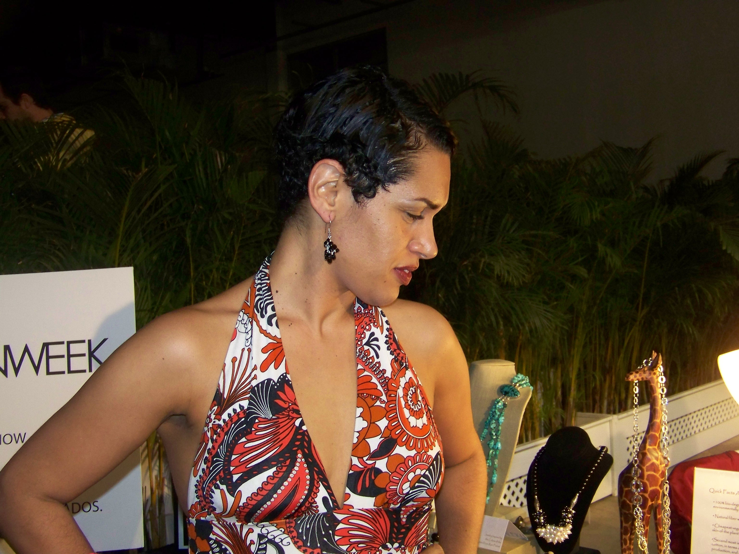 Wearing Maleku Jewelry at Miami Fashion Week