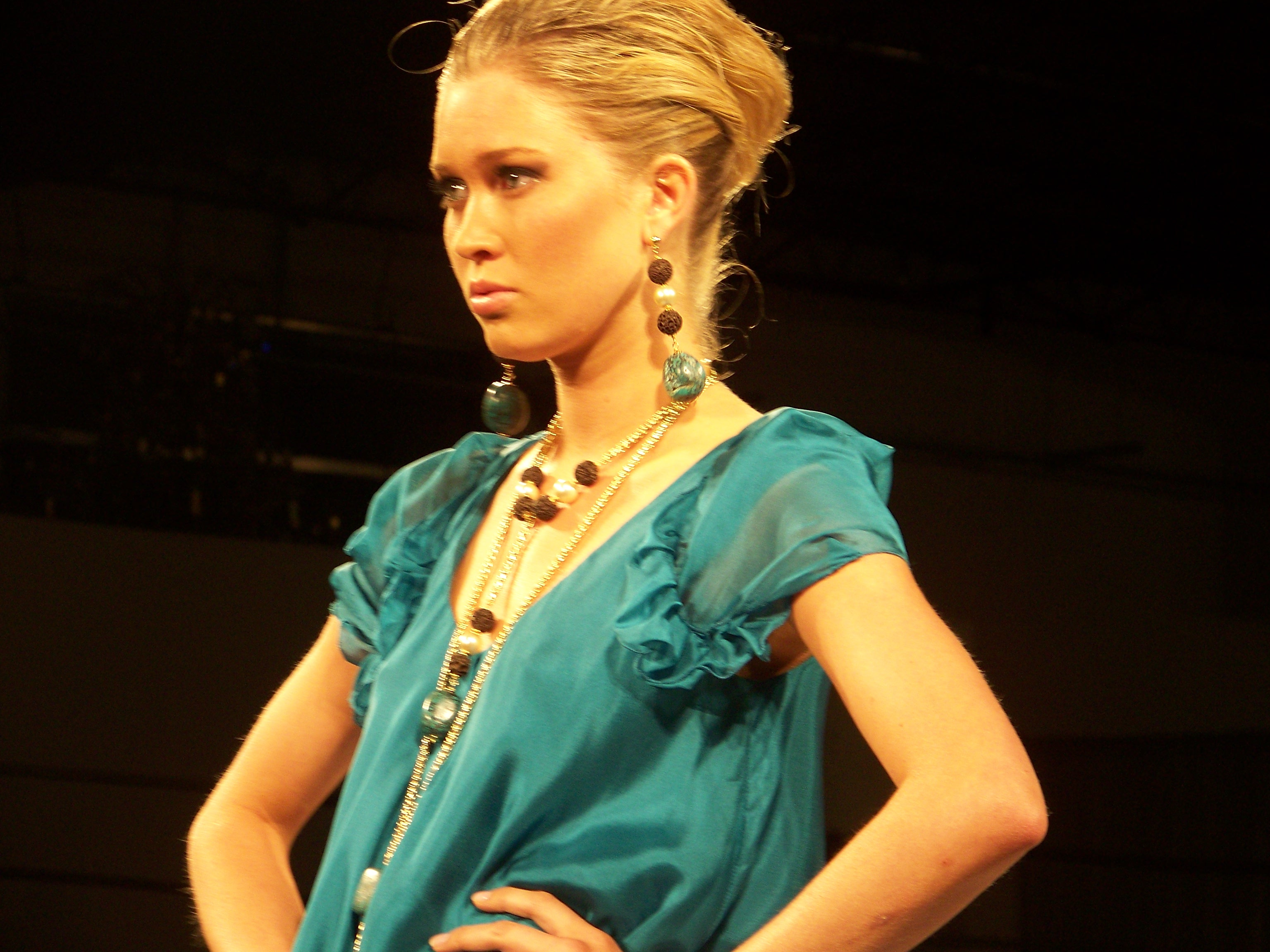 Model wearing Maleku Jewelry at Miami Fashion Week