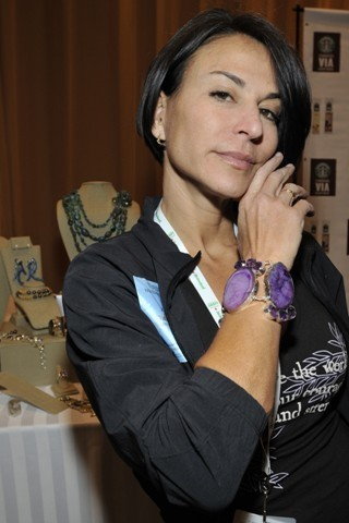Guiselle Fernandez wearing a purple Maleku Jewelry bracelet at the Latin Grammy Awards
