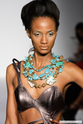 Model wearing Turquoise necklace at Nolcha Fashion Week 2011